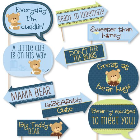 Funny Baby Boy Teddy Bear - Baby Shower Photo Booth Props Kit - 10 - Boy Baby Shower Kits