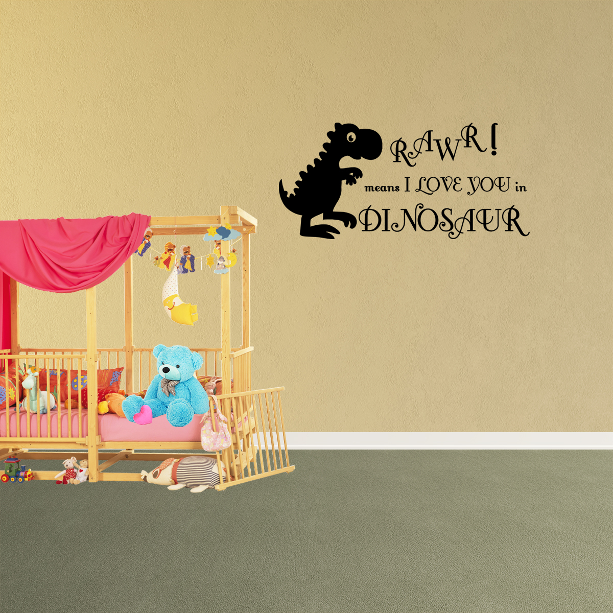 Wall Decal Quote Rawr Means I Love You In Dinosaur Playroom Sticker Decor R45