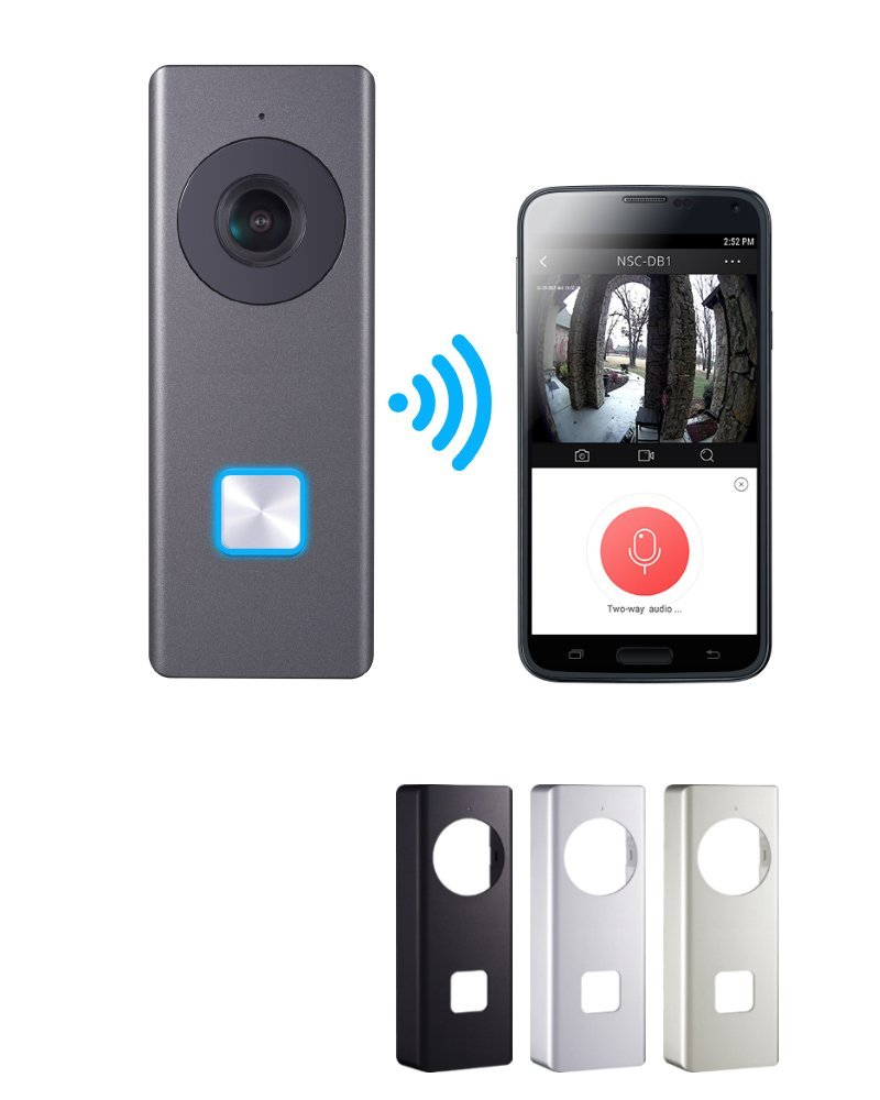 Nelly's Security 32GB 1080p Wifi Video Doorbell Camera Onvif Compatible, Includes 4 Faceplates by Nelly%27s Security