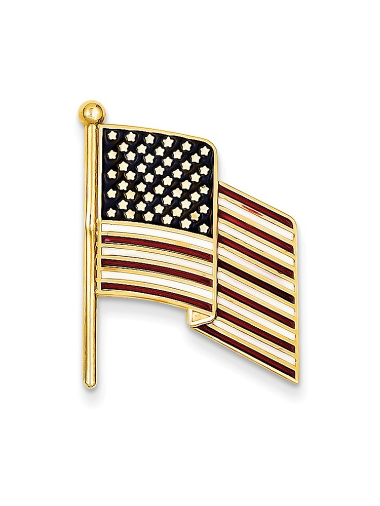 ICE CARATS 14kt Yellow Gold Enameled Flag Tie Tac Man Bar Pin Fine Jewelry Dad Mens Gift Set by IceCarats Designer Jewelry Gift USA