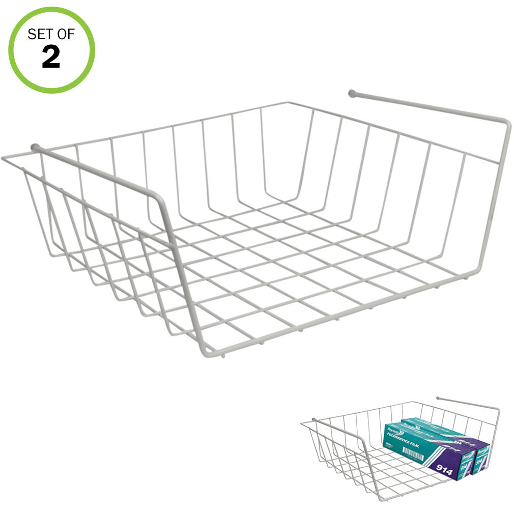 Evelots Slide Under Shelf Sturdy Wire Baskets w/ Back Space Saver Organizer, S/2