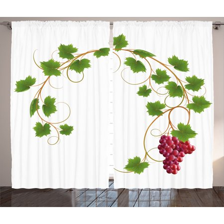 Grapes Home Decor Curtains 2 Panels Set, Curved Ivy Branch Deciduous Woody Wines Seed Clusters Cabernet Kitchen, Window Drapes for Living Room Bedroom, 108W X 90L Inches, Green Purple, by Ambesonne