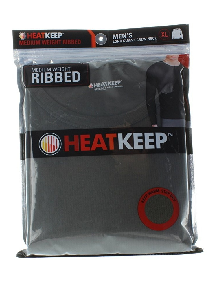 HeatKeep Medium Weight Ribbed CrewNeck Thermal Base Layer Shirt