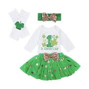 Honganda Girl's Clover Letter Romper Polka Dot Skirt and Headband Leg Warmer