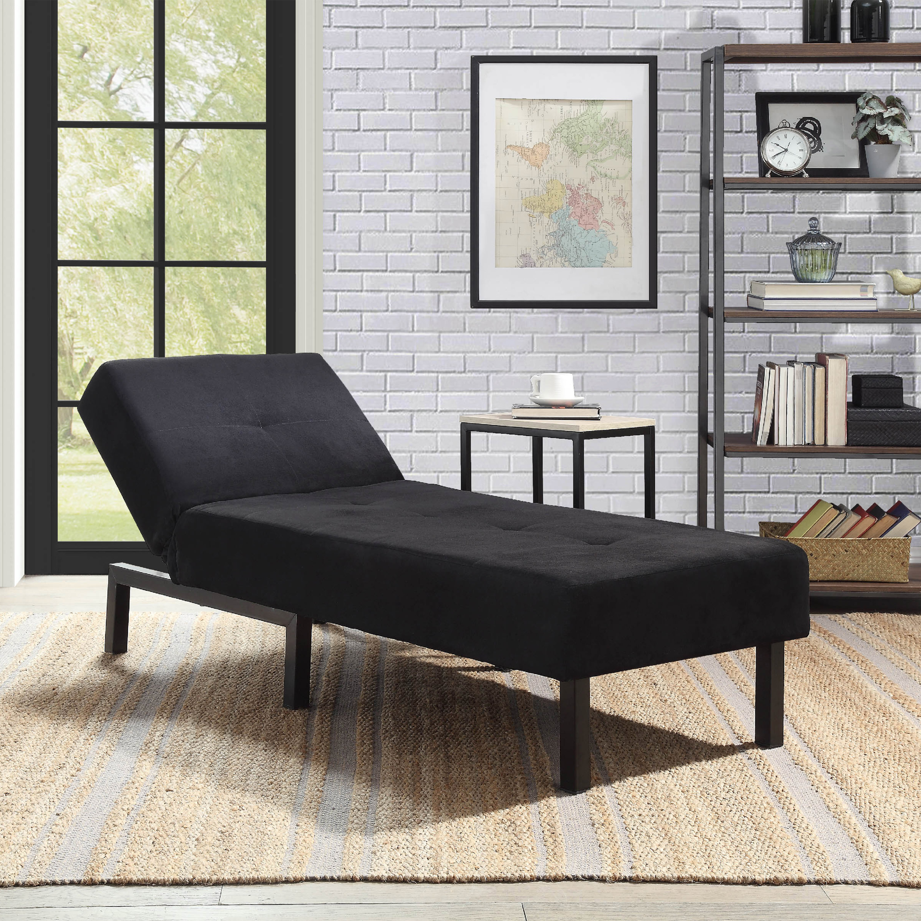 Black Chaise Lounge Chair Day Bed Sleeper Sofa Fiat Bed Lounger