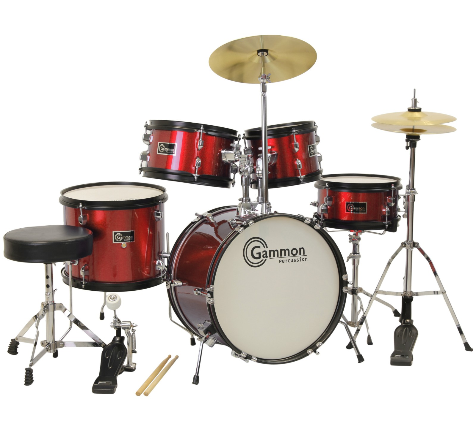 Gammon Drum Set Red Complete Junior Kit With Cymbals Sticks Hardware And Stool