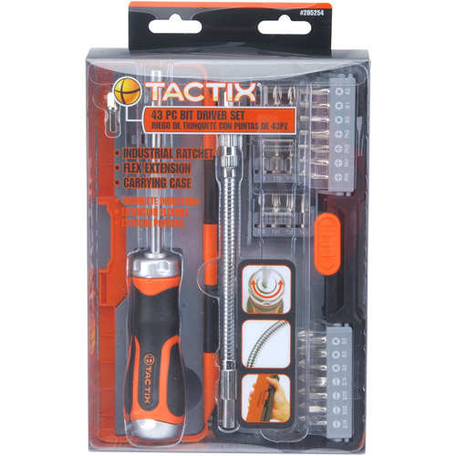 Tactix 43-Piece Heavy Duty Ratchet Bit Driver Set, 205254