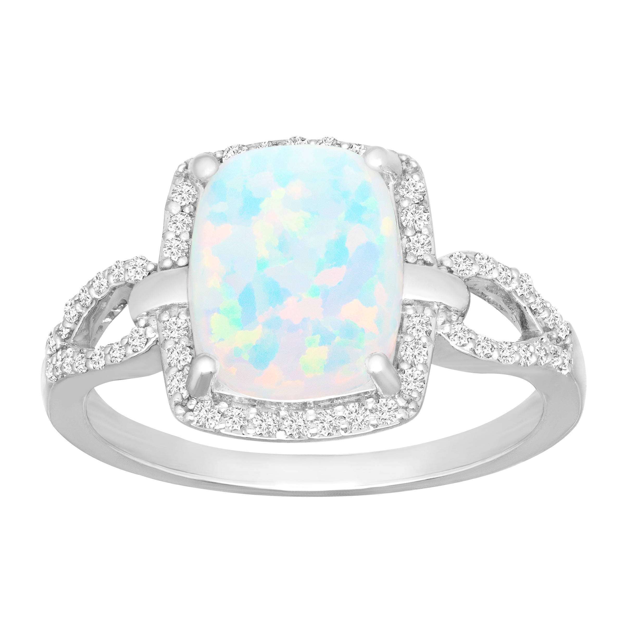 3 4 ct Created Opal & 1 4 ct Diamond Ring in Sterling Silver by Richline Group
