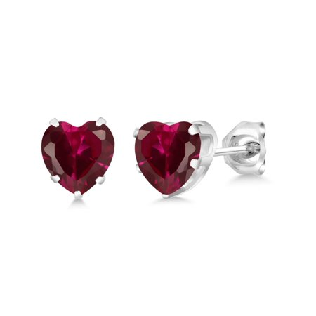 - 1.92 Ct Heart Shape 6mm Red Created Ruby 925 Sterling Silver Stud Earrings