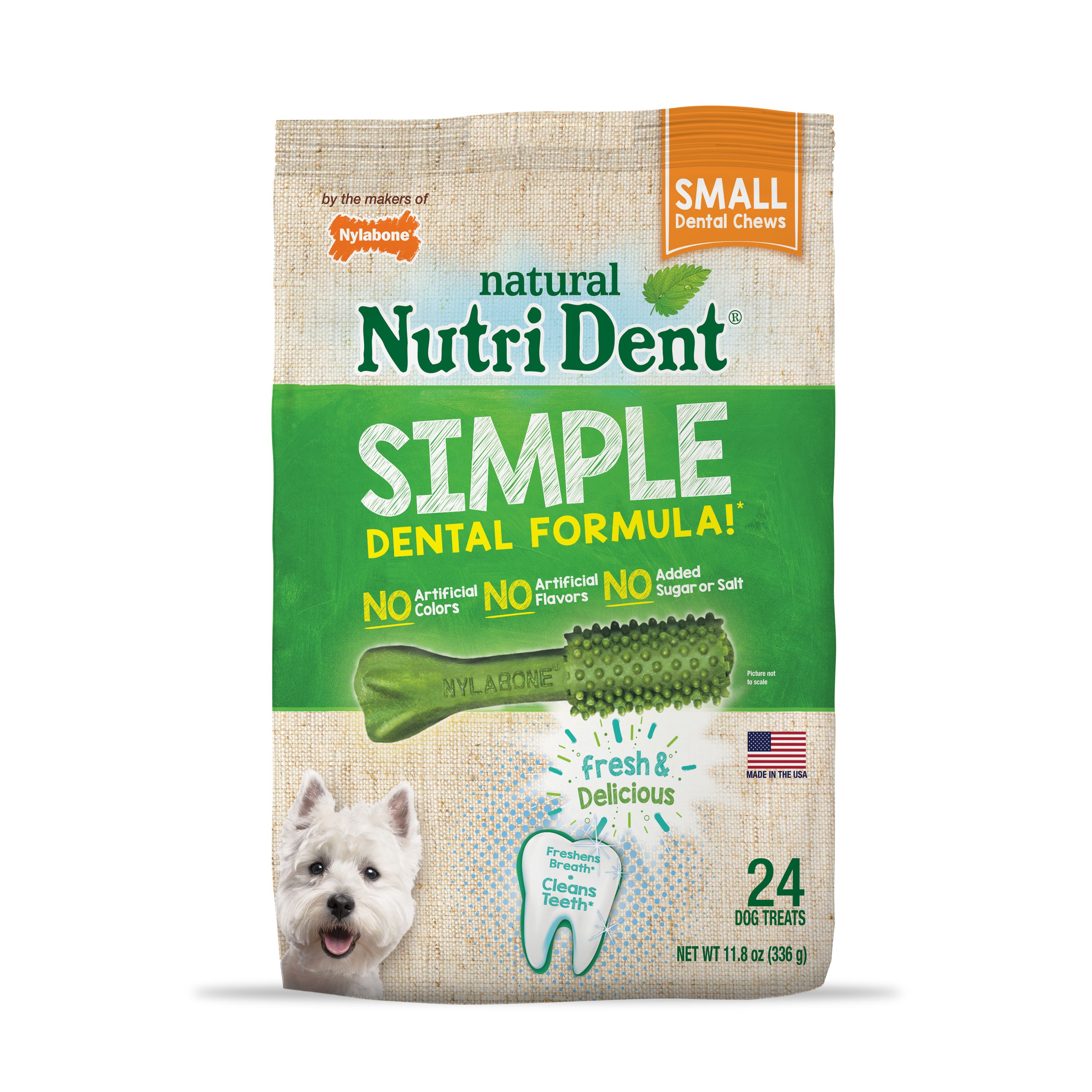 Nylabone Nutri Dent Simple Dental Formula Dog Chew Treats, Small, 24 Count