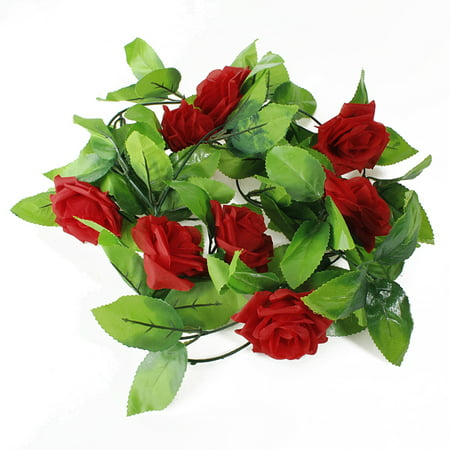 Meigar Artificial Rose Garland Silk Flower Ivy Vine Leaf Garland for Valentine Home Wedding Garden Decoration (Wholesale Silk Flowers And Supplies)