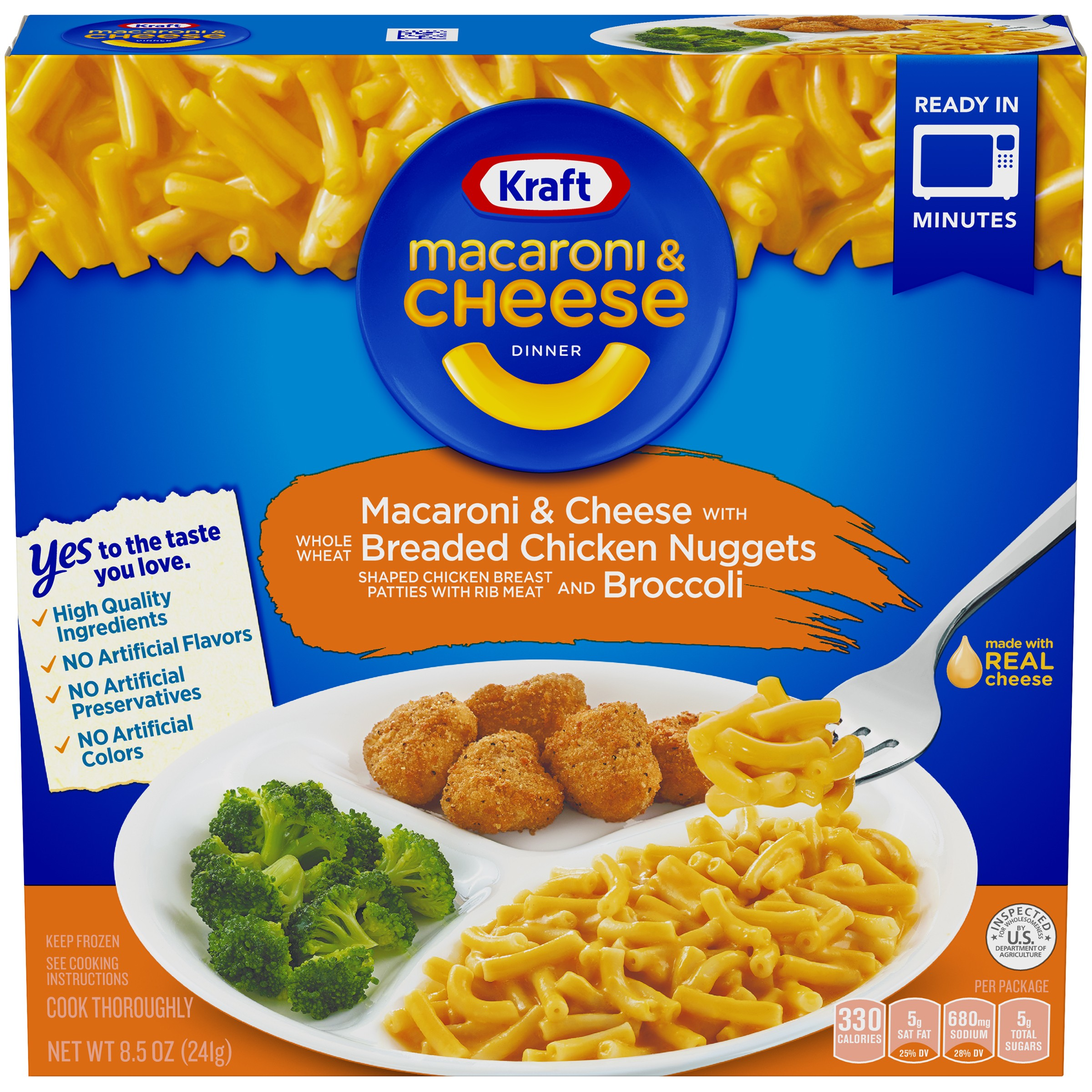 Kraft Macaroni & Cheese Dinner With Breaded Chicken Nuggets and Broccoli, 8.5 OZ