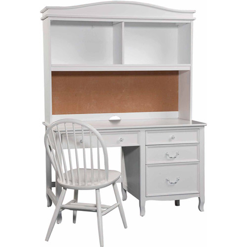 Bolton Furniture Emma Pedestal Desk with Hutch Set, White