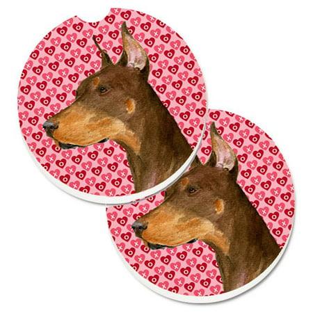 Carolines Treasures SS4468CARC Doberman Hearts Love & Valentines Day Portrait Set of 2 Cup Holder Car Coaster - image 1 of 1
