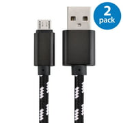 2x Afflux 10FT Micro USB Adaptive Fast Charging Cable Cord For Samsung Galaxy S3 S4 S6 S7 Edge Note 2 4 5 Grand Prime LG G3 G4 Stylo HTC M7 M8 M9 Desire 626 OnePlus 1 2 Nexus 5 6 Nokia Lumia Black