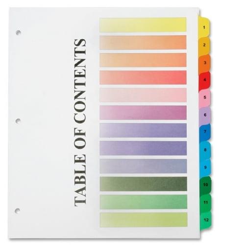 Skilcraft Numerical Tab Set, 1-12, Multicolor 6215258