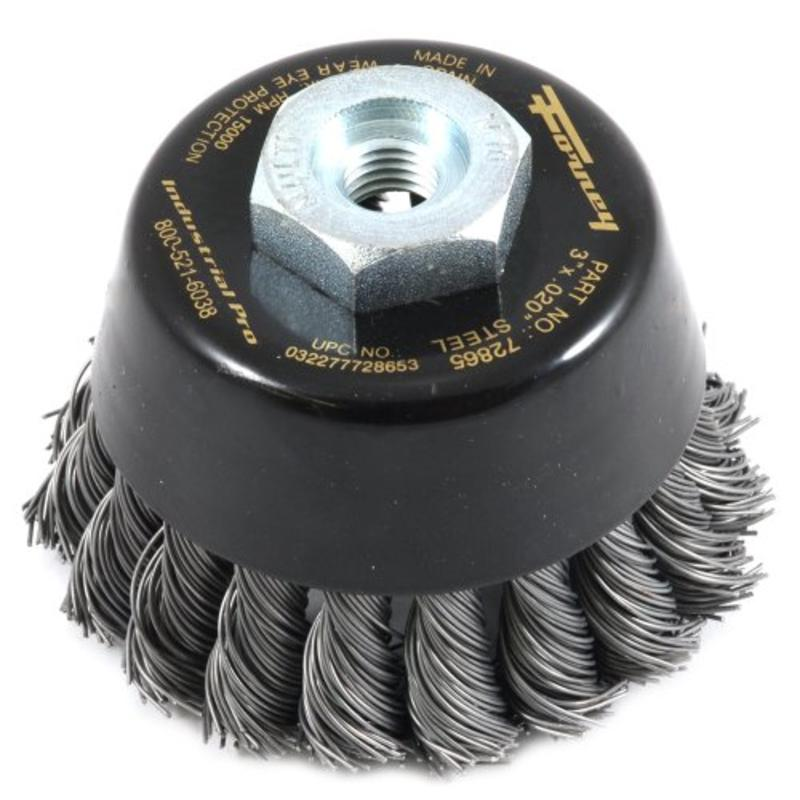"3""-By-.020"" Wire Cup Brush, Industrial Pro Twist Knot Forney 72865 032277728653"