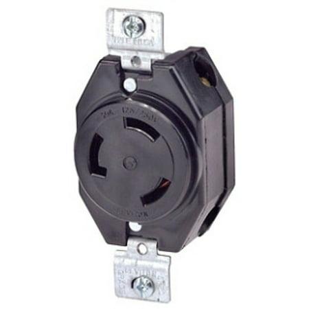 3330 Wall - Leviton 3330 30 Amp, 125/250 Volt, Flush Mounting Locking Receptacle, Industrial Grade, Non-Grounding, Black