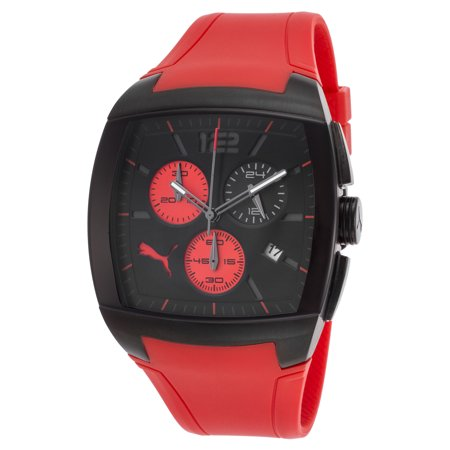 Puma Pu102721001 Men's Gt Chronograph Red Rubber Black Dial Watch