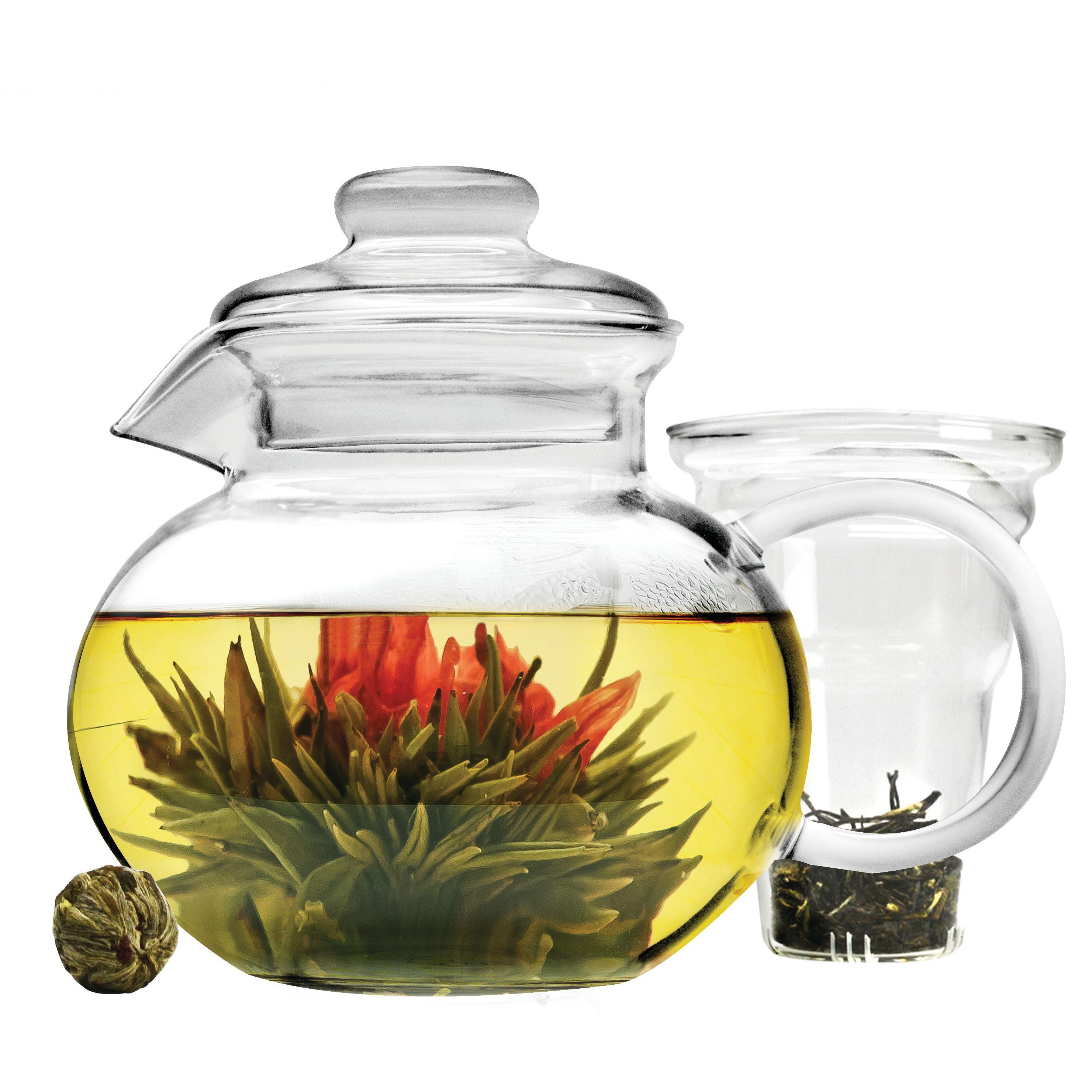 Primula Blossom 40 oz. Temperature Safe Glass Teapot with Glass Loose Leaf Tea Infuser and 1 Tea Flower