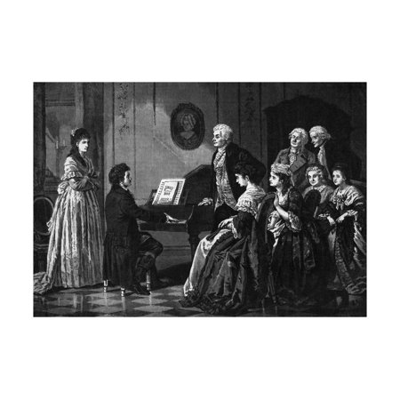 Illustration of Beethoven Performing before Mozart Print Wall Art ()