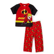 Disney Boys' Pajama The Incredibles Short Sleeve Tee and Lounge Pants 2-Piece Set, Red, Size: 3T