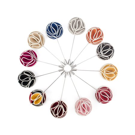 TopTie Lapel Pin Flower Boutonniere for Suit Rose for Wedding (Pack of 12)-SET6 - Boys Boutonniere