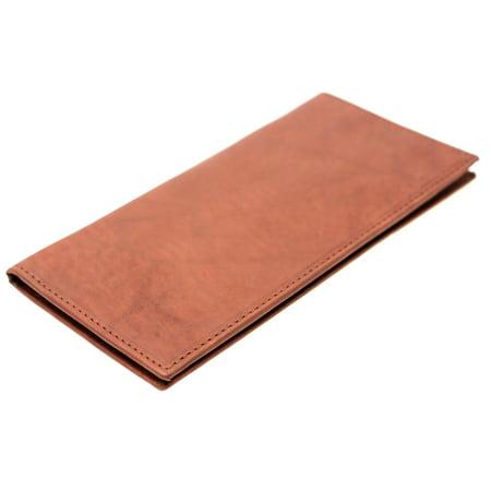 Checkbook Cover Holder Super Slim Plain Mens Womens Genuine Leather Cowhide New Super Slim Leather