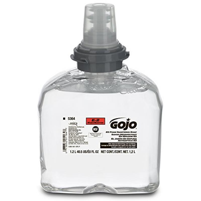 Gojo 5364-02 TFX E2 Foam Sanitizing Soap, 1200 mL (Case o...