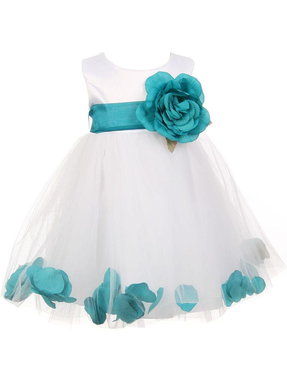 Baby Girls White Teal Petal Adorned Satin Tulle Flower Girl Dress 6-24M
