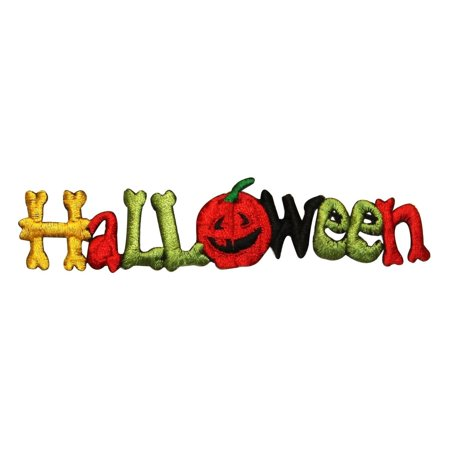 ID 0834 Halloween Sign Patch Pumpkin Decoration Embroidered Iron On Applique - Iron On Halloween Appliques