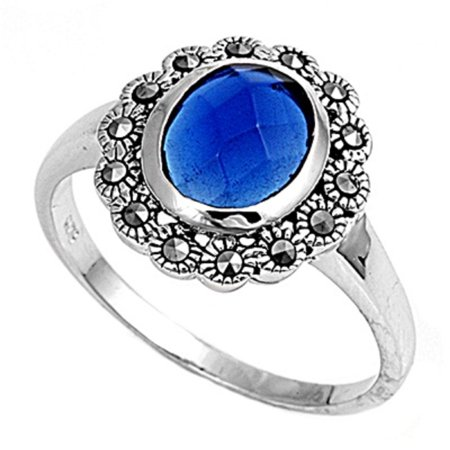 - Round Simulated Sapphire Simulated Marcasite Cubic Zirconia Center Vintage Style Ring Sterling Silver