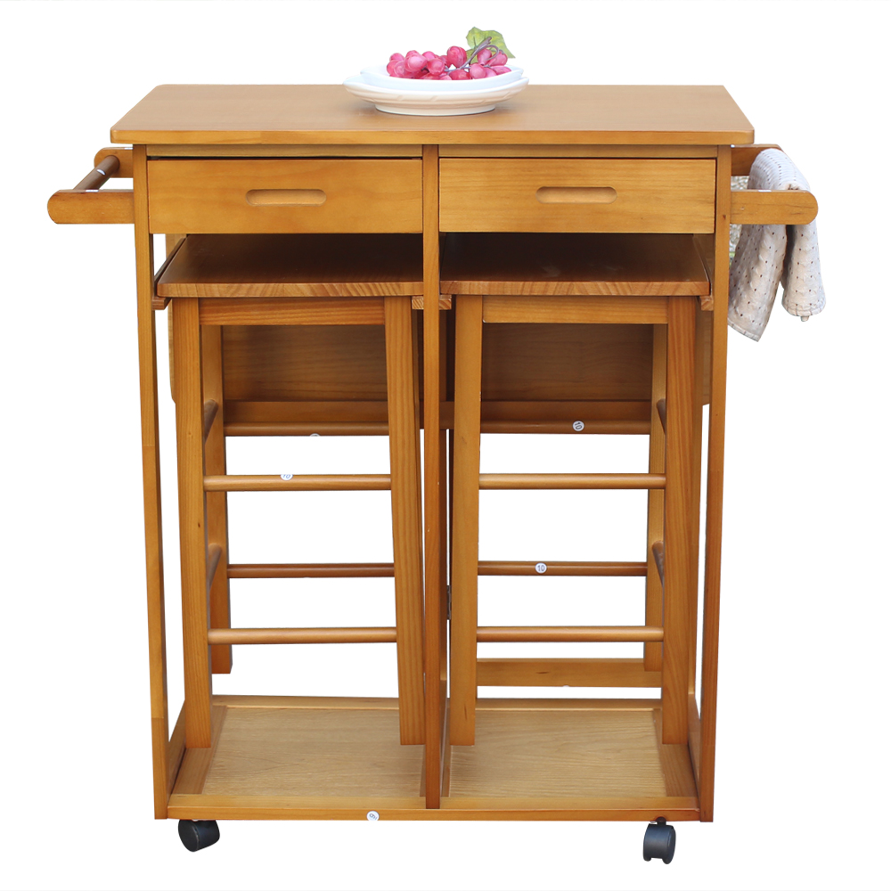 folding kitchen island folding kitchen island trolley cart rolling kitchen island cart with 2 stools storage drawers 1589