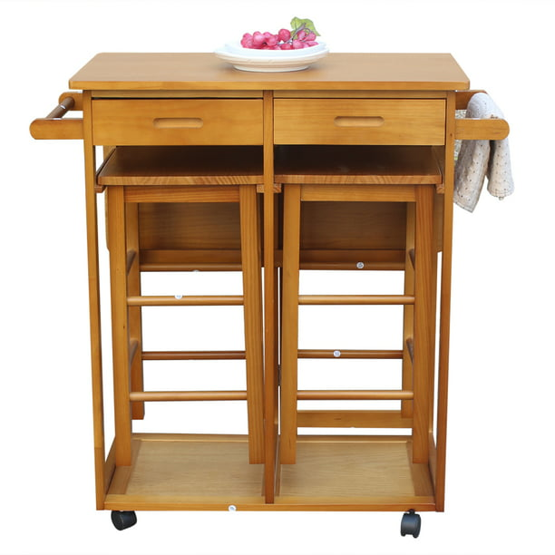 Folding Kitchen Island Trolley Cart Rolling Kitchen Island Cart With 2 Stools Storage Drawers Portable Breakfast Bar Drop Leaf Dining Table Set For Dining Room Bistro Hotel Patio Brown W4253 Walmart Com