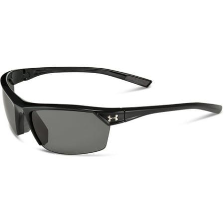 Men's Zone 2.0 Polarized Sunglasses Shiny Black/Charcoal Grey Rubber ()