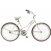 "26"" Titan Docksider Deluxe Women's Beach Cruiser Bike, White/Hot Pink"