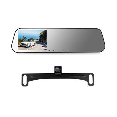 AUTO-VOX M2 Dual lens DVR Dash Camera Rear View Mirror Monitor with Car Recorder