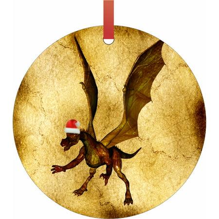 Golden Dragon in a Santa Klaus Hat Semigloss Flat Round Shaped Ornament Xmas Tree Christmas Décor - Christmas Room Décor and Ornament Yard Decorations ()