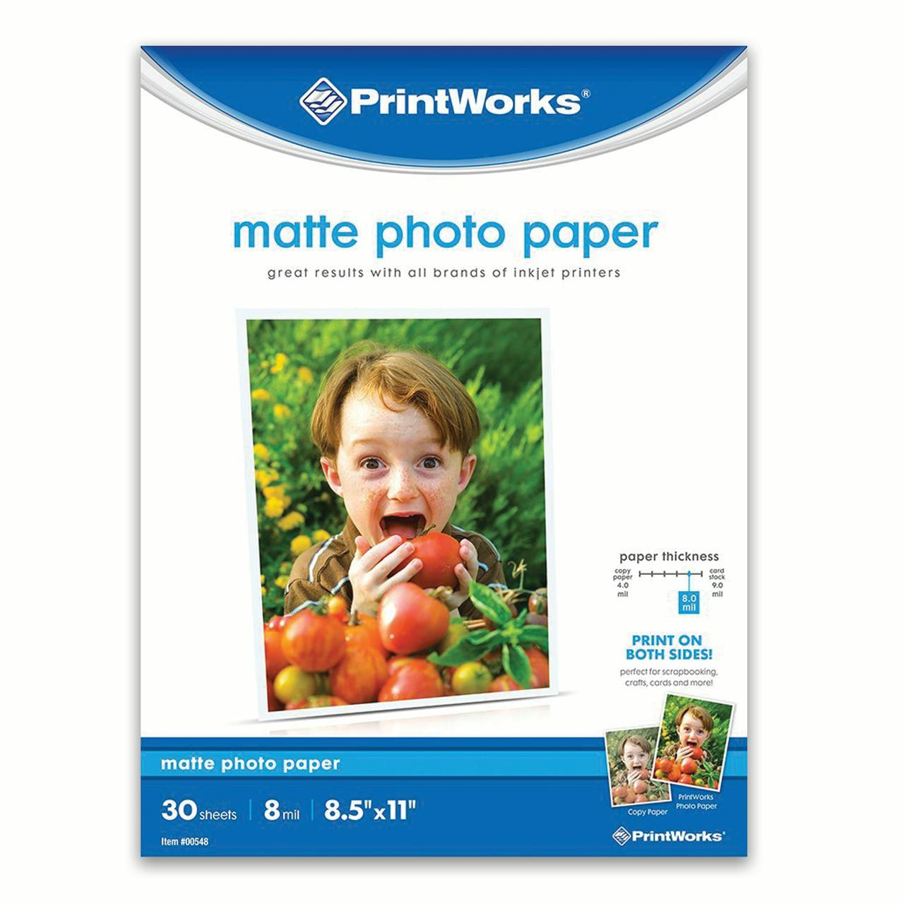 Printworks, Matte Photo Paper, 8.5x11 In, 8 Mil, 30 Sheets, (00548)