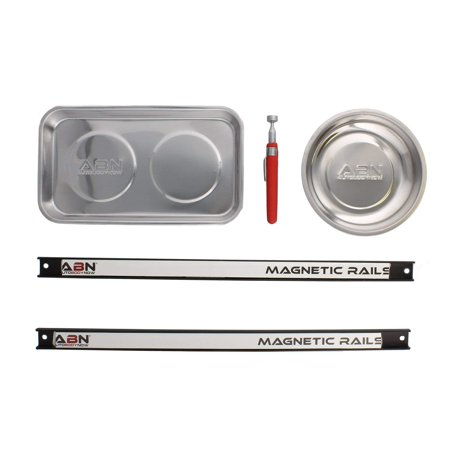 ABN Magnetic Storage Organization Set – Stainless Steel Trays, Telescoping Magnet Stick Wand Pick Up, Tool Holder