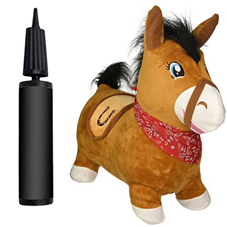 NDN LINE Bouncy Horse & Inflatable Real Feel Hopping Horse. Plush Covered, (Inflatable with Pump) - image 4 de 4