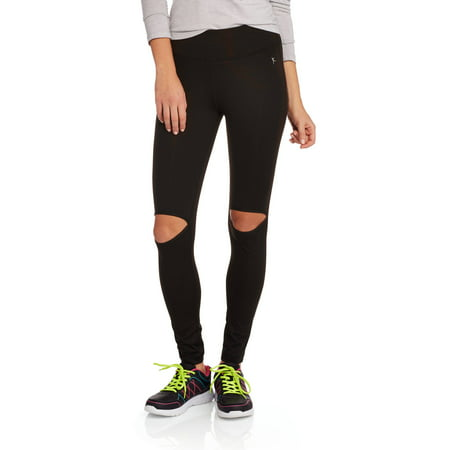 7cdab4c56c56f Danskin Now - Danskin Now Juniors' High Waisted Leggings with Cut Out Knee  - Walmart.com