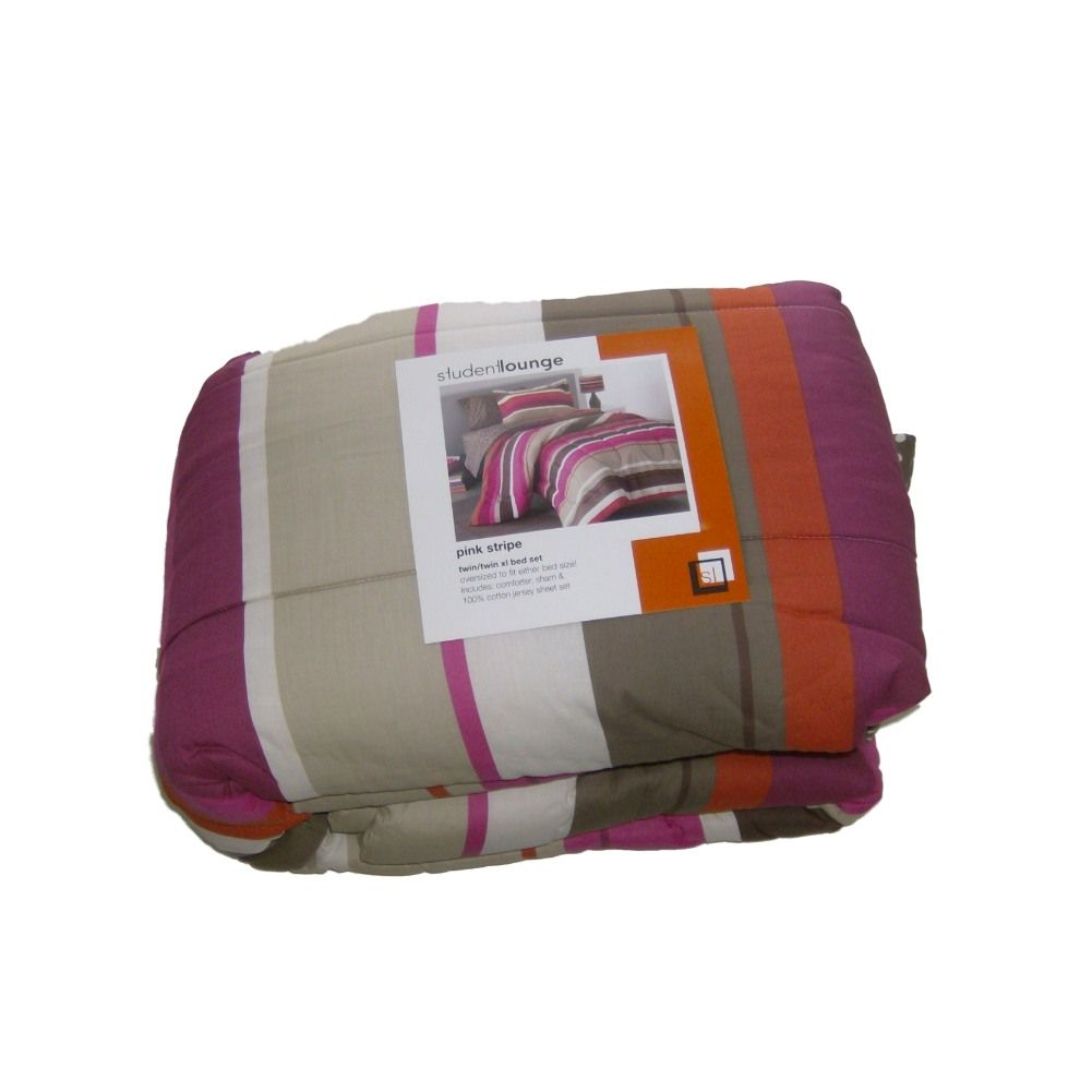 Student Lounge Twin XL Bed In Bag Pink Stripes Comforter ...