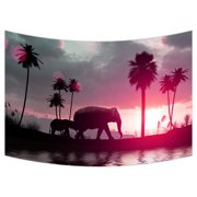 YKCG Elephants at Sunset Wall Hanging Tapestry Wall Art 90x60 inches
