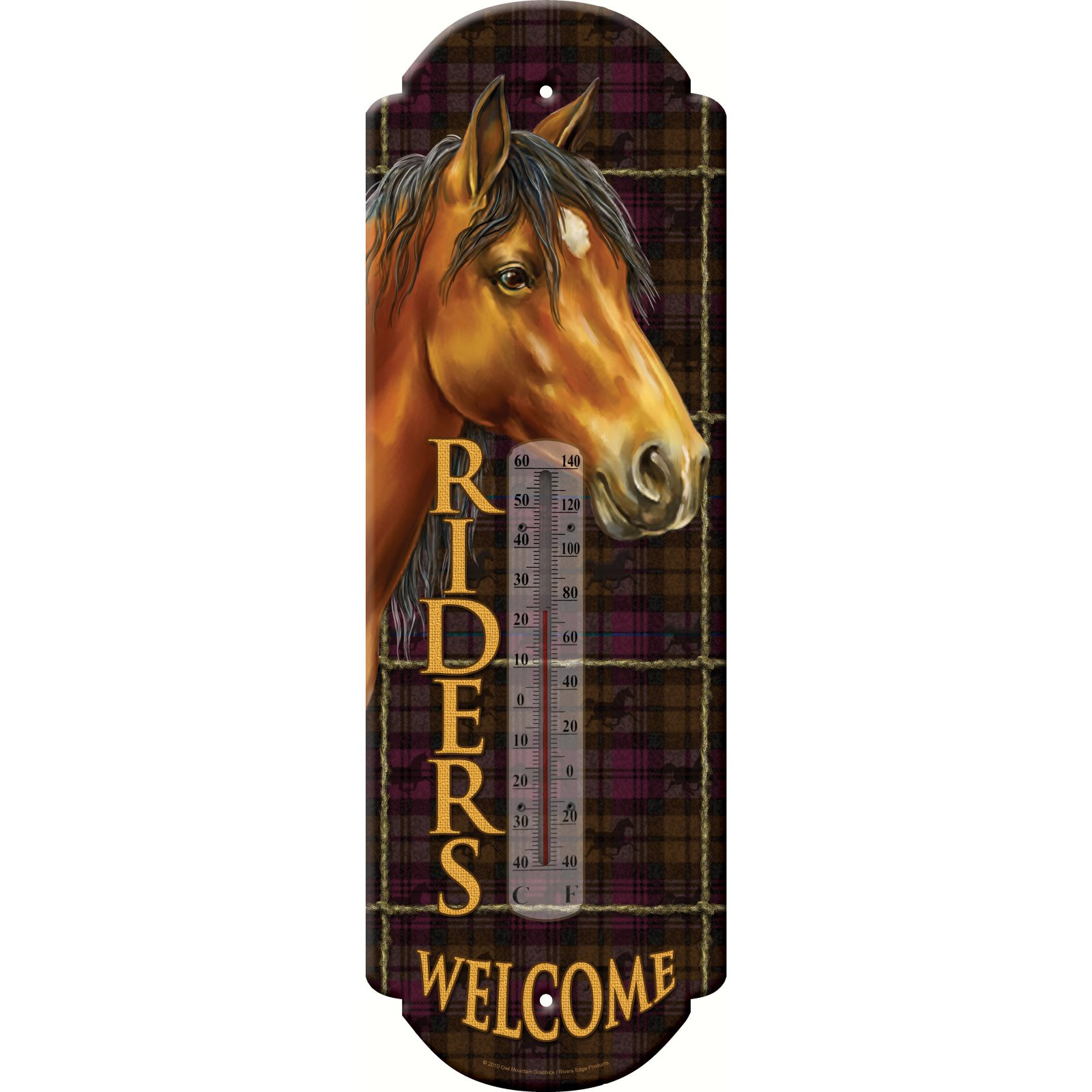 Rivers Edge Riders Welcome Tin Thermometer