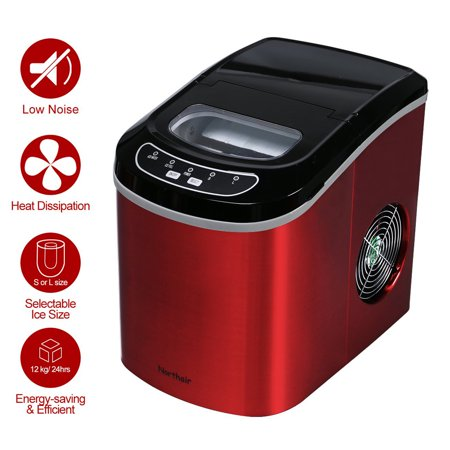 Portable Ice Cube Maker, Stainless Steel Ice Maker for Countertop, Ice Cubes Ready in 9 Mins - Makes 26 lbs Ice in 24 hrs, Electric Ice Making Machine Perfect for Water Bottles, Mixed Drinks,