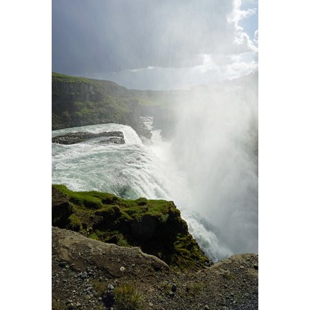 LAMINATED POSTER Waterfall Gullfoss Force Of Nature Iceland Enormous Poster Print 24 x 36