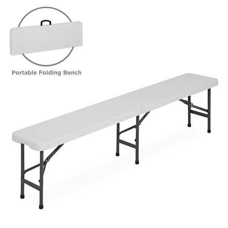 Best Choice Products 6ft Portable Plastic Bench Seat for Indoor, Outdoor, Picnic, Dining, Camping w/ Handle, Lock, Non-Slip Rubber Feet, Steel (Plastic Bench)