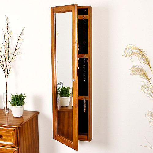 Wallmount Jewelry Armoire With Mirror, Oak