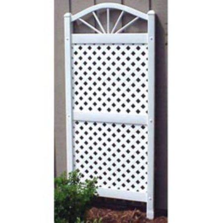 Dura trel sunburst 5 ft vinyl lattice arch trellis for 8 foot high outdoor privacy screen